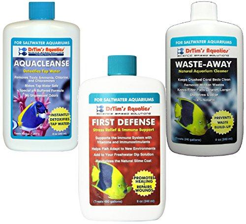 First Defense Saltwater (DrTim's Aquatics Saltwater 3pcs Bundle - 8oz Each (1-AquaCleanse, 1- First Defense, and 1-WasteAway))
