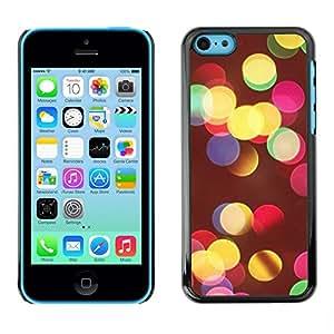 TopCaseStore / la caja del caucho duro de la cubierta de protección de la piel - Vivid Colors Night City Blur Yellow - Apple iPhone 5C