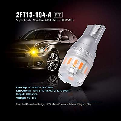 SIRIUSLED - FT- 194 912 Side Marker LED Light Car Interior, Map, Dome, Trunk, Backup Bulb High Power 3030 + 4014 SMD Super Bright Pack of 2 (Amber/Orange): Automotive