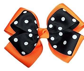 e7a8ad5d8875 Amazon.com   Victory Bows Polka Dot Double Quad Grosgrain Hair Bow- The  Siena Marie Orange and Black- Made in the USA Pony Tail Band   Beauty