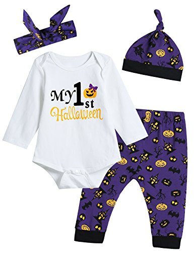 4PCS Baby Girls' My 1ST Halloween Outfit Set Romper Pumpkin Pants and Hat with Headband