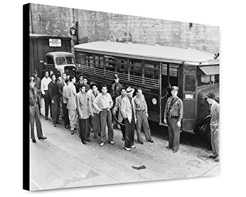 ClassicPix Canvas Print 20x24: Zoot Suiters Lined Up Outside Los Angeles Jail En Route to.