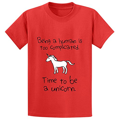 unicorn-time-to-be-a-unicorn-youth-short-sleeve-crew-neck-tees-red