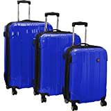 Traveler's Choice Sedona 8-Wheels Polycarbonate Hardside Expandable Spinner 3-Piece Luggage Set, Blue (21''/25''/29'')