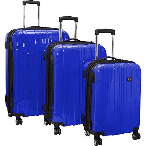Traveler's Choice Sedona 8-Wheels Polycarbonate Hardside Expandable Spinner 3-Piece Luggage Set, Blue (21''/25''/29'') by Traveler's Choice