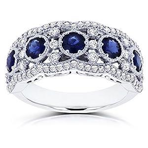 Blue Sapphire and Diamond Anniversary Ring 10k White Gold