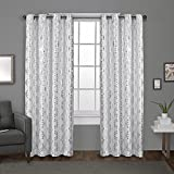 Exclusive Home Curtains Modo Metallic Geometric Window Curtain Panel Pair with Grommet Top, Winter White, 54×108, 2 Piece For Sale