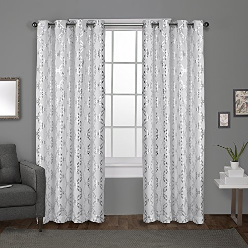 Exclusive Home Curtains Modo Metallic Geometric Window Curtain Panel Pair with Grommet Top, 54x108, Winter White, 2 -
