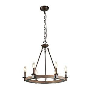 LNC 6 Farmhouse Wood Lighting Pendant Lighitng Chandeliers, A03300