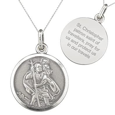 9e79d7c86 St Christophers Travellers Prayer Sterling Silver Necklace: Amazon.co.uk:  Jewellery