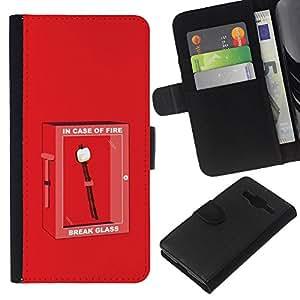 Edad de Piedra Parodia fuego - la tarjeta de Crédito Slots PU Funda de cuero Monedero caso cubierta de piel Para Samsung Galaxy Core Prime