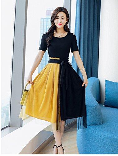 Cotylédons Women`s Robes Taille Haute Encolure Dégagée Robe À Manches Courtes Plissée Jaune