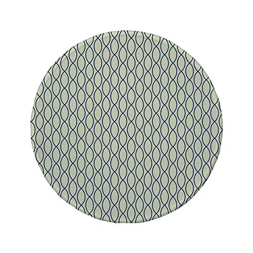 Non-Slip Rubber Round Mouse Pad,Abstract,Vertical Curvy Lines Form Elliptic Shapes Fishing Net Lattice Pattern,Light Yellow Navy Blue,7.87