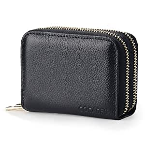 Women Wallet, COCASES RFID Blocking Genuine Leather Double Zipper Credit Card Holder Coin Purse (Black)