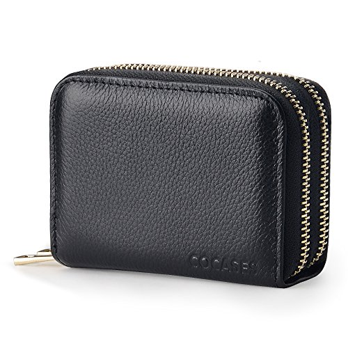 Women Credit Card Wallet, COCASES RFID Blocking Genuine Leather Double Zipper Coin Purse (Black) by COCASES