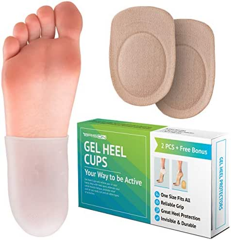 Heel Cushion Sleeve Protectors - Foot Care Socks Reduce Pain from Plantar Fasciitis Achilles Tendonitis - Cracked Sole Heel Pain & Spur