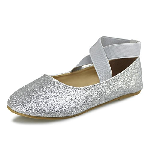 Image of Hawkwell Girls Mary Jane Ballerina Flat Shoes(Toddler/Little Kid/Big Kid),Silver PU,4 M US