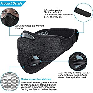 Pioneeryao Sport Dust Mask Cycling Running Outdoor Face Mask Starter Training Mask Dustproof Carbon Filtration Workout Running Motorcycle Cycling Mask