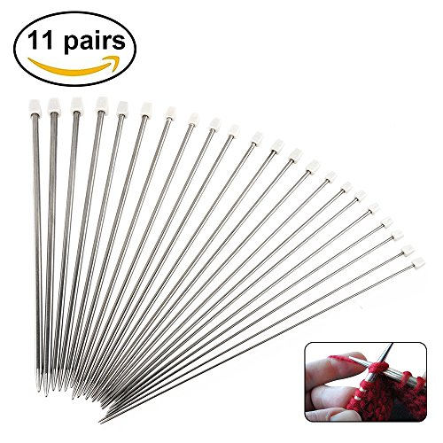 Knitting Needles,Htianc 11 Pcs Stainless Steel Knitting Needles - 14