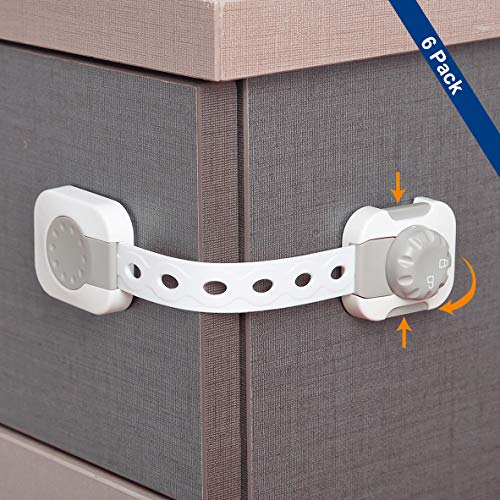 Child Safety Cabinet Locks Lathes Baby Proof Dual Action Child Safety Locks ChildProof Drawer Locks Cabinet Safety Lock Latches Adjustable Strap Baby Safety Latches for Cabinet, Drawer, Oven, Toilet,