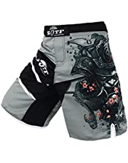 SOTF Men's Gray Sports Shorts Muay Thai Boxing Trunks MMA Shorts