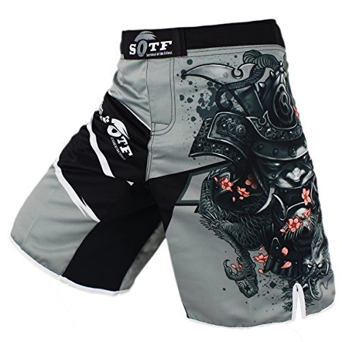 SOTF Men's Gray Sports Pants Tiger Muay Thai Boxing Shorts MMA Shorts (XL)