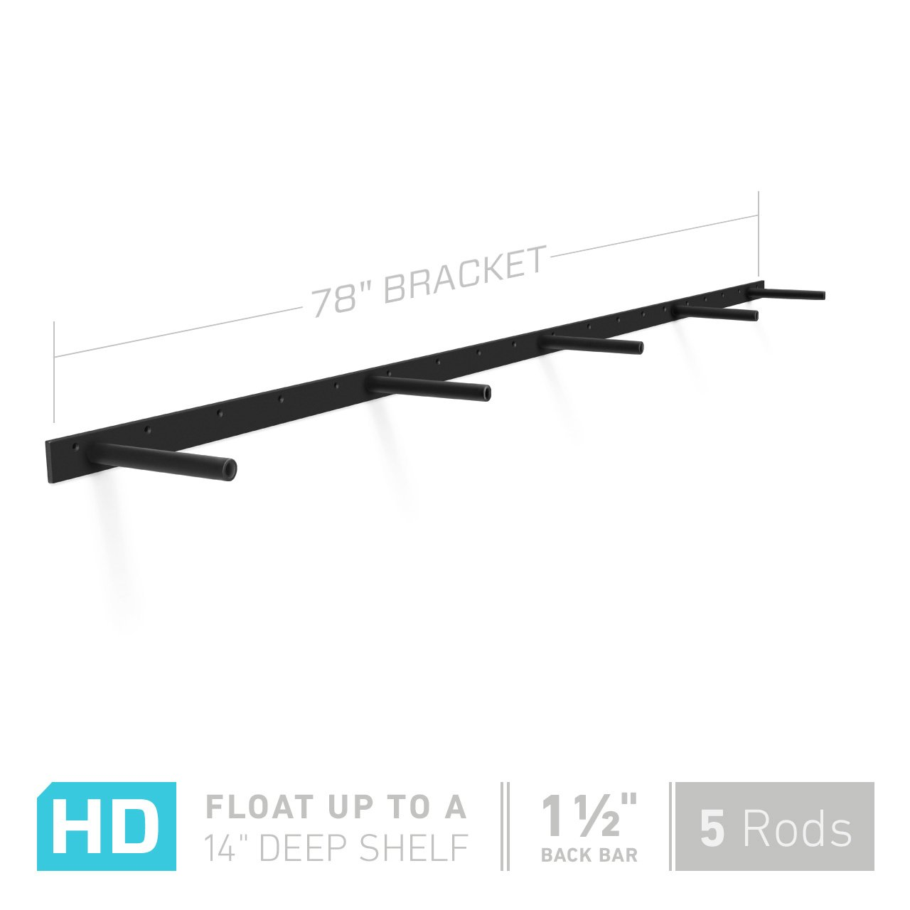 Shelfology 78'' Long Heavy Duty Hidden Shelf Bracket - For 80'' to 96'' floating shelves. Manufactured in USA