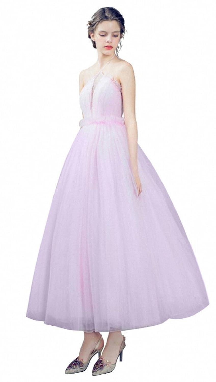 KekeHouse? Wedding Bridesmaid A-line Dress Beading Pleat Party Dress Midi Flower Girl's Child Dance Dress Pink