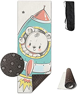 Amazon.com : QNKUqz Cartoon Bear Flying Rocket Deluxe Yoga ...