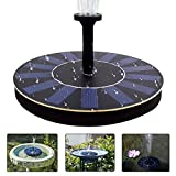 jxwstar  Solar Fountain Pump Bird Bath,1.4w Portable Submersible Free Standing Solar Outdoor Fountain for Small Pond, Patio Garden (black)