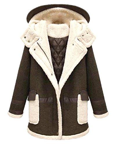 E Caff�� Cappuccio Fashion Size Con In Lana Senza Plus Agnello Maniche qYwgT6rxY