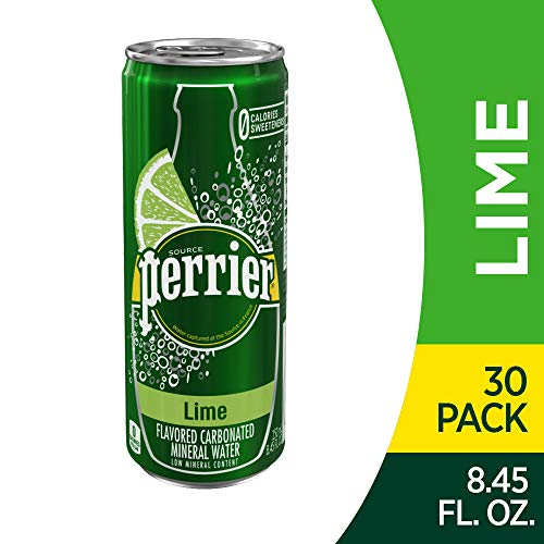 (Perrier Lime Flavored Sparkling Mineral Water, 8.45 fl oz. Slim Cans (Pack of 30))