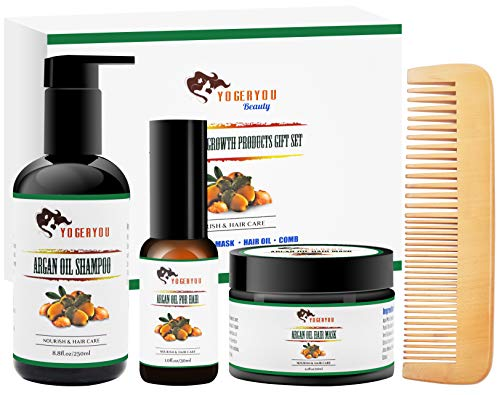 Argan Oil Hair Growth Products Set w/Hair Shampoo,Hair Mask Conditioner,Morocco Argan Oil,Wood Comb,100% Organic Natural Vegan Hair Care Treatment Valentines Gifts for Women/Mom,Repair Damage&Dry Hair (Best Organic Hair Care Products)
