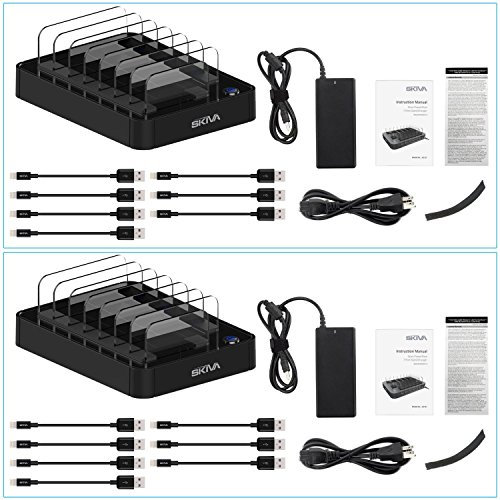 [2-Pack] Skiva StandCharger 7-Port 84W Charging Station with 2.4A Smart Rapid USB Ports for iPad, iPhone & more (Includes: '14 x Short Apple MFi Lightning Cables' and '2 X StandCharger') [Model:AC129] by SKIVA (Image #7)