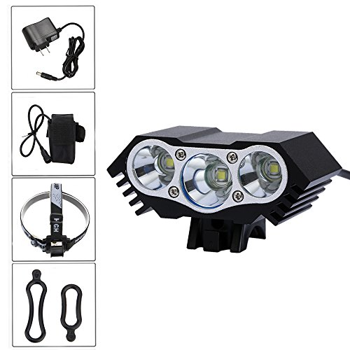 Rechargeable 9000lm 3x XM-L T6 LED Front Bicycle Light Bike Headlamp Headlight Waterproof Cycling Camping Fishing Hiking Lamp+8800mAh Battery + US Charger - Xml T6 Led Bike