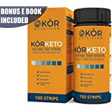 Keton Strips For Perfect Keto + BONUS Diet eBook - Accurate Test for Ketosis To Maximize Fat Burning On A Low Carb Ketogenic Diet - 100 Professional Testing Strips to Monitor Ketones By Kōr Nutrition