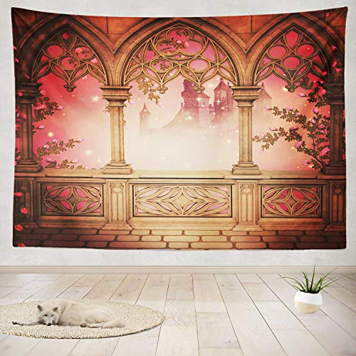 "ONELZ Decor Collection,Palace Balcony Background Bedroom Living Room Dorm Wall Hanging Tapestry 60"" L x 80"" W Polyester & Polyester Blend"