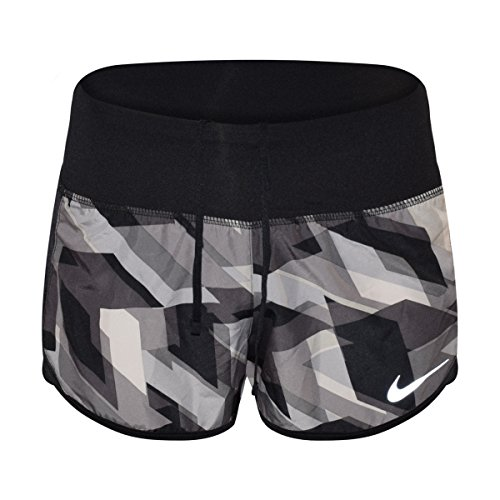 Nike Women's 3'' Dry Geo Groove Crew Printed Running Shorts(Black/Black, Large)