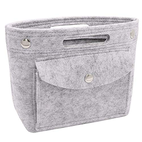 Yoillione Mini Handbag Organizer Insert Tote Bag Organizer,Felt Organizer for Purse Organizer,Fit LV NeoNoe Noe BB Speedy Neverful,LightGray Small