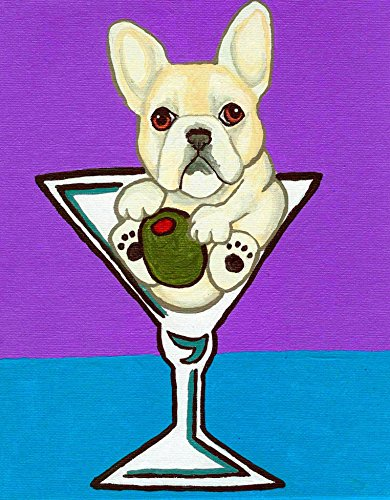 Fawn French Bulldog Dog in Martini Glass Signed Art Print of Original Artwork Acrylic (Martini Dog Art)