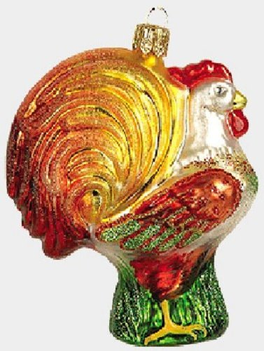 (Pinnacle Peak Trading Company Rooster Polish Glass Christmas Ornament Poland Chicken Decoration)