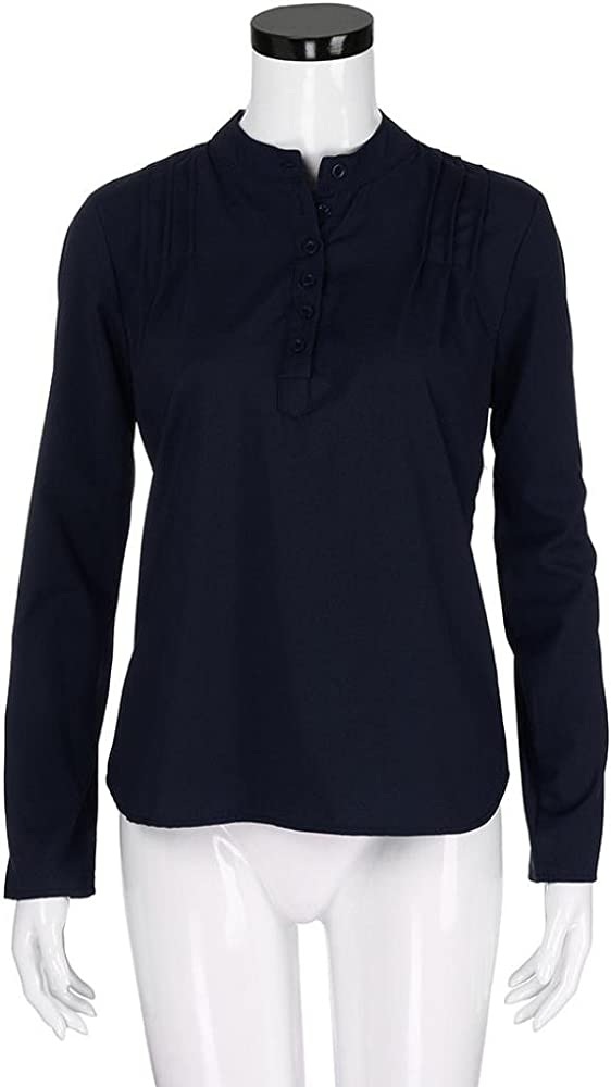 FAMILIZO Camisas Mujer Elegantes Tallas Grandes, Camisetas Mujer Verano Tops Mujer Primavera Camisetas Mujer Largas Camisetas Mujer Manga Larga Algodon Tallas Grandes Mujer Fiesta Blusas (S, Armada): Amazon.es: Ropa y accesorios