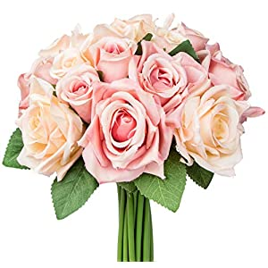 Foraineam 2-Pack Rose Fake Flowers 9 Heads Bridal Wedding Bouquets Silk Artificial Roses Flowers 2