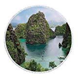 iPrint Thick Round Beach Towel Blanket,Ocean Island Decor,Landscape of Majestic Cliff in Philippines Wild Hot Nature Resort Off Picture,Green Brown Blue,Multi-Purpose Beach Throw