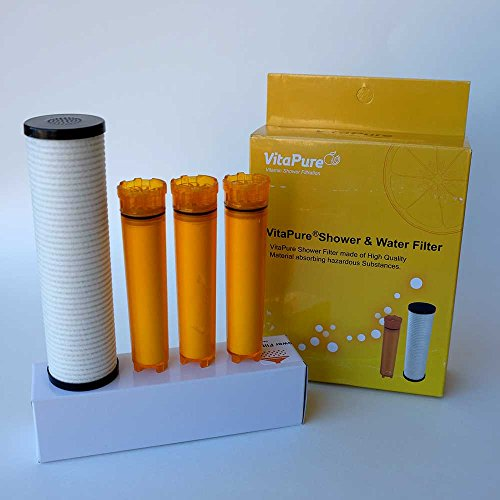 Sonaki Shower Filter Refill Cartridges - 4 Pack includes 3 Vitamin C 1 ACF Filter - Remove 99.9%