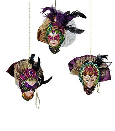 Katherine's Collection Mardi Gras Carnivale Mask Hanging Ornaments (Set/3)
