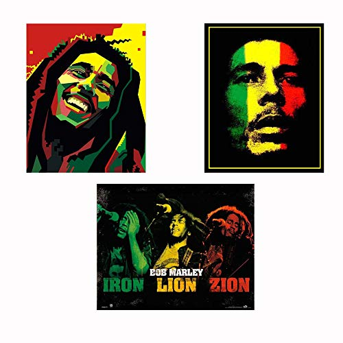 (Bob Marley-Silhouettes Wall Art Set-3 Watercolor Abstract-8 x 10