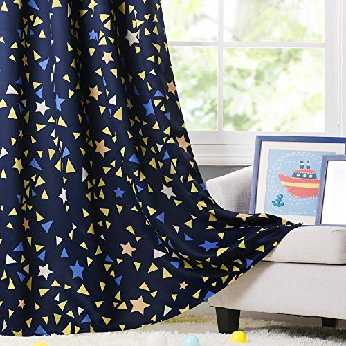 (PONY DANCE Window Star Curtains - Semi Blackout Colorful Stars Design Space Inspired Grommet Top Panels for Baby Boy Kids Nursery Room, 52 in Wide by 63 Long, Navy Blue, Set of 2)