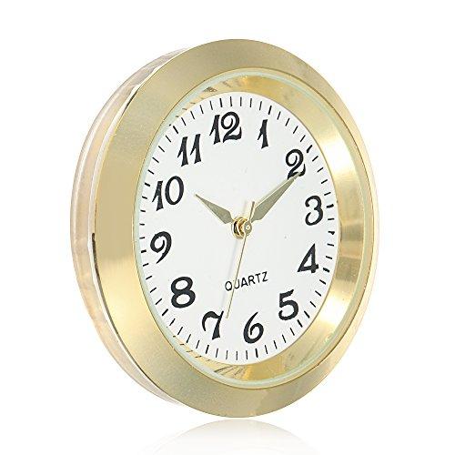 ShoppeWatch Mini Clock Insert 45mm Round Quartz Movement Miniature Clock Fit Up White Face Gold Tone Bezel Arabic Numerals CK087GD