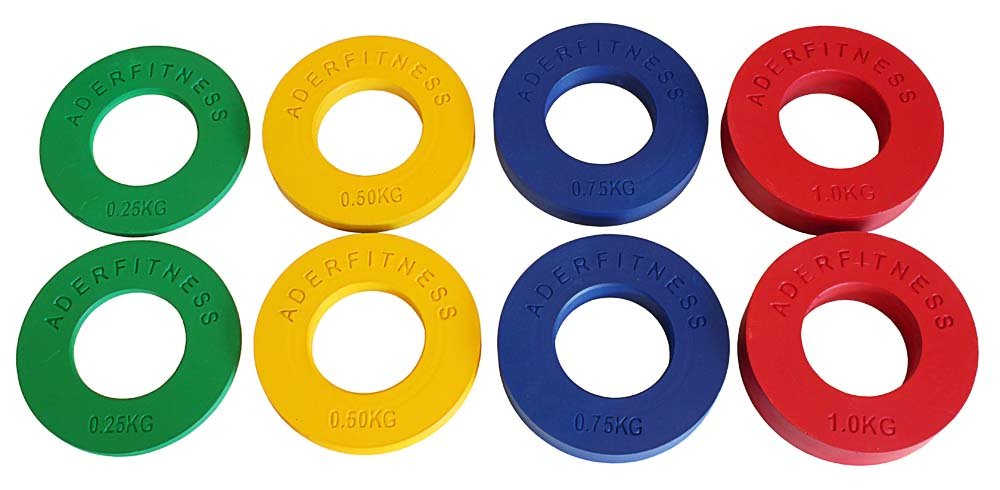 Fractional Olympic Plates 1/4,1/2,/3/4,1.0Kgs (.55, 1.1, 1.65, 2.2LBs)4 Pairs by Ader Sports